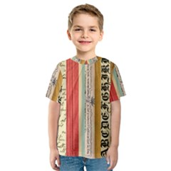 Digitally Created Collage Pattern Made Up Of Patterned Stripes Kids  Sport Mesh Tee