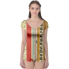 Digitally Created Collage Pattern Made Up Of Patterned Stripes Boyleg Leotard