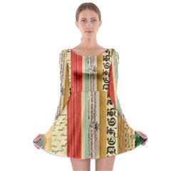 Digitally Created Collage Pattern Made Up Of Patterned Stripes Long Sleeve Skater Dress
