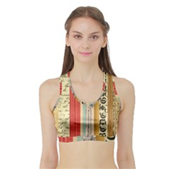 Digitally Created Collage Pattern Made Up Of Patterned Stripes Sports Bra With Border