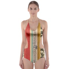 Digitally Created Collage Pattern Made Up Of Patterned Stripes Cut Out One Piece Swimsuit