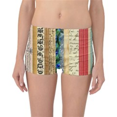 Digitally Created Collage Pattern Made Up Of Patterned Stripes Reversible Bikini Bottoms