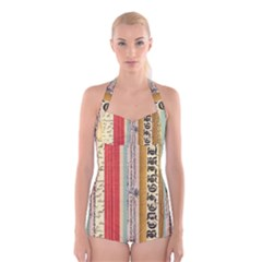 Digitally Created Collage Pattern Made Up Of Patterned Stripes Boyleg Halter Swimsuit