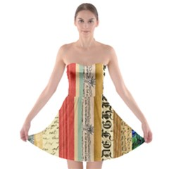 Digitally Created Collage Pattern Made Up Of Patterned Stripes Strapless Bra Top Dress