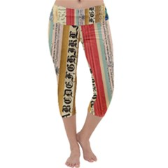 Digitally Created Collage Pattern Made Up Of Patterned Stripes Capri Yoga Leggings