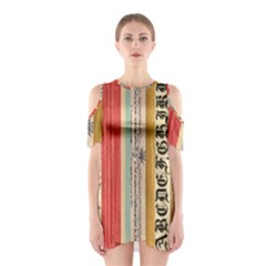 Digitally Created Collage Pattern Made Up Of Patterned Stripes Shoulder Cutout One Piece