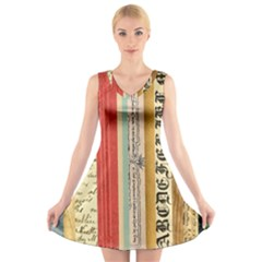 Digitally Created Collage Pattern Made Up Of Patterned Stripes V Neck Sleeveless Skater Dress