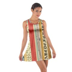 Digitally Created Collage Pattern Made Up Of Patterned Stripes Cotton Racerback Dress