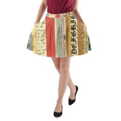 Digitally Created Collage Pattern Made Up Of Patterned Stripes A-Line Pocket Skirt