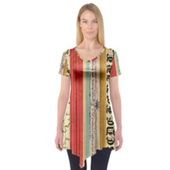 Digitally Created Collage Pattern Made Up Of Patterned Stripes Short Sleeve Tunic