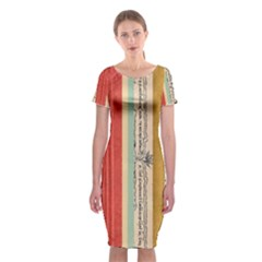 Digitally Created Collage Pattern Made Up Of Patterned Stripes Classic Short Sleeve Midi Dress