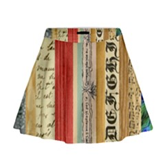 Digitally Created Collage Pattern Made Up Of Patterned Stripes Mini Flare Skirt