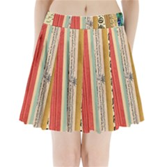 Digitally Created Collage Pattern Made Up Of Patterned Stripes Pleated Mini Skirt