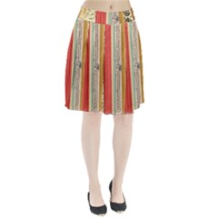 Digitally Created Collage Pattern Made Up Of Patterned Stripes Pleated Skirt