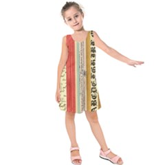 Digitally Created Collage Pattern Made Up Of Patterned Stripes Kids  Sleeveless Dress