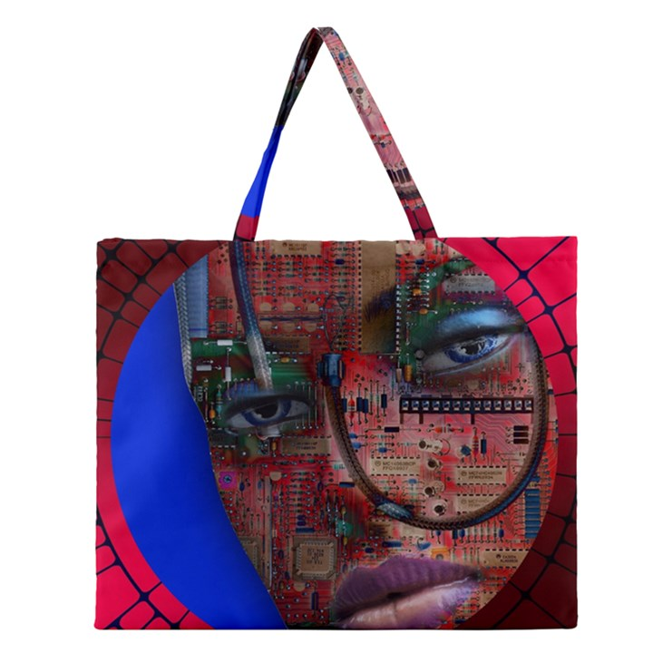 Display Dummy Binary Board Digital Zipper Large Tote Bag