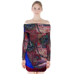 Display Dummy Binary Board Digital Long Sleeve Off Shoulder Dress
