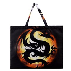 Dragon Fire Monster Creature Zipper Large Tote Bag