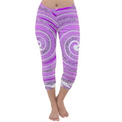 Digital Purple Party Pattern Capri Winter Leggings