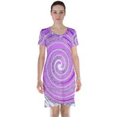 Digital Purple Party Pattern Short Sleeve Nightdress