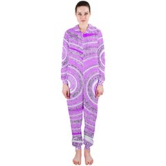 Digital Purple Party Pattern Hooded Jumpsuit (ladies)
