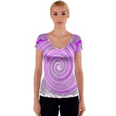 Digital Purple Party Pattern Women s V-Neck Cap Sleeve Top