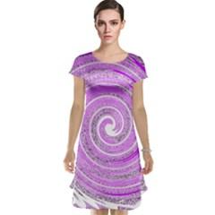 Digital Purple Party Pattern Cap Sleeve Nightdress