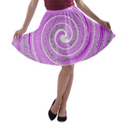 Digital Purple Party Pattern A-line Skater Skirt
