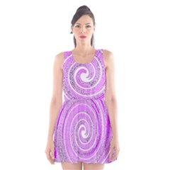 Digital Purple Party Pattern Scoop Neck Skater Dress