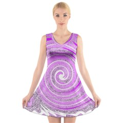 Digital Purple Party Pattern V Neck Sleeveless Skater Dress