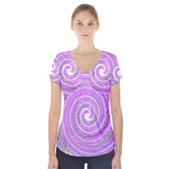 Digital Purple Party Pattern Short Sleeve Front Detail Top