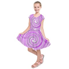 Digital Purple Party Pattern Kids  Short Sleeve Dress