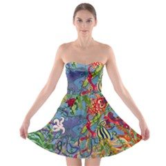 Dubai Abstract Art Strapless Bra Top Dress