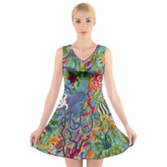 Dubai Abstract Art V-Neck Sleeveless Skater Dress