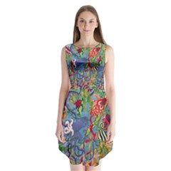 Dubai Abstract Art Sleeveless Chiffon Dress