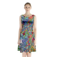 Dubai Abstract Art Sleeveless Chiffon Waist Tie Dress