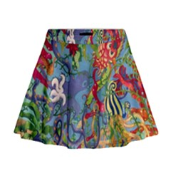 Dubai Abstract Art Mini Flare Skirt