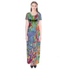 Dubai Abstract Art Short Sleeve Maxi Dress