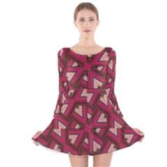 Digital Raspberry Pink Colorful Long Sleeve Velvet Skater Dress