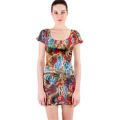 Dragons China Thailand Ornament Short Sleeve Bodycon Dress