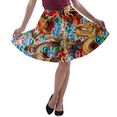 Dragons China Thailand Ornament A-line Skater Skirt