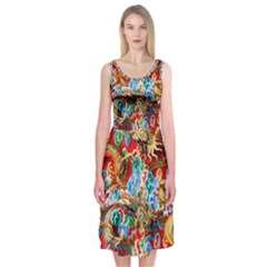 Dragons China Thailand Ornament Midi Sleeveless Dress