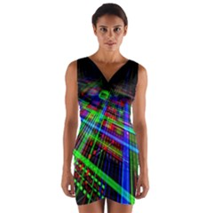 Electronics Board Computer Trace Wrap Front Bodycon Dress