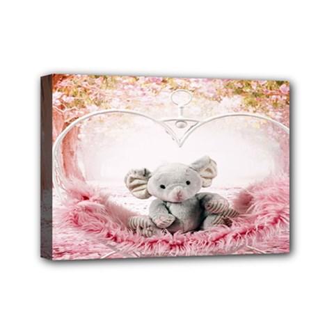 Elephant Heart Plush Vertical Toy Mini Canvas 7  x 5