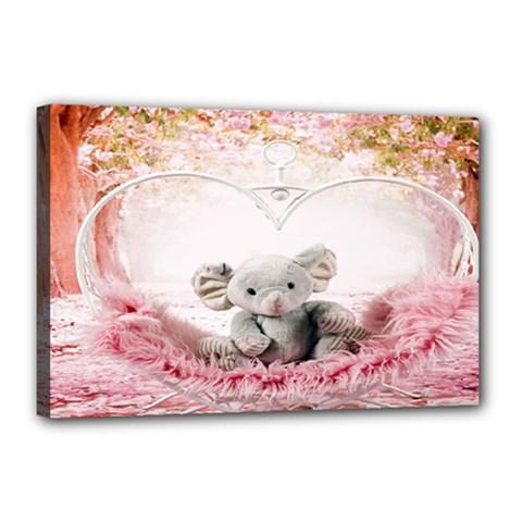 Elephant Heart Plush Vertical Toy Canvas 18  x 12