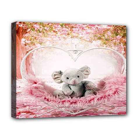 Elephant Heart Plush Vertical Toy Deluxe Canvas 20  x 16