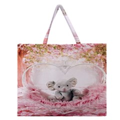 Elephant Heart Plush Vertical Toy Zipper Large Tote Bag