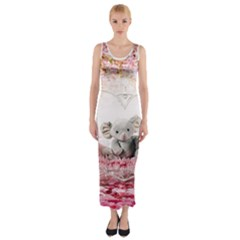 Elephant Heart Plush Vertical Toy Fitted Maxi Dress