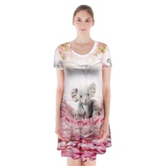Elephant Heart Plush Vertical Toy Short Sleeve V-neck Flare Dress