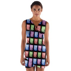 Email At Internet Computer Web Wrap Front Bodycon Dress